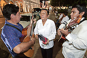 MERIDA, YUCATAN, MEXICO: Musicians perform on the Plaza Mayor in front of the city hall building in Merida, capital of the Yucatan in Mexico. Merida is popular with Mexican and foreign tourists alike who visit the city to see the colonial architecture and explore the Mayan Indian communities in the area.  01 AUGUST 2003 PHOTO BY JACK KURTZ
