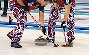 """Glasgow. SCOTLAND.  Norway's """"Skip"""" Thomas ULSRUD, vigorously sweeping a team """"Stone"""" during the  """"Round Robin"""" Game. Le Gruyère European Curling Championships. 2016 Venue, Braehead  Scotland<br /> Tuesday  22/11/2016<br /> <br /> [Mandatory Credit; Peter Spurrier/Intersport-images]"""