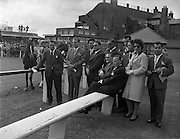 06/06/1959 <br /> 06/06/1959<br /> 06 June 1959<br /> Portuguese Travel Agents and Journalists at the Baldoyle Races, Co. Dublin. Included in the group are Harry Knowles, Press  Officer, Irish Air Lines; Dr. Noberto Lopes; F. Castro; F. Nogueira; J. Camara; Seara Cardosa; Jorge Simoes; J.C. Andrade; Pedro Correla Marques; Miss Joy Green, Dublin Journalist and Fernando Herdade.
