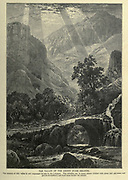 Wood engraving of The valley of the Adonis (Nahr Ibrahim). The scenery in this valley was not surpassed by any in Lebanon. The hillsides are in many places clothed with pines and oak-trees, and groves of mulberry and fruit-trees border the stream. from 'Picturesque Palestine, Sinai and Egypt' by Wilson, Charles William, Sir, 1836-1905; Lane-Poole, Stanley, 1854-1931 Volume 3. Published in by J. S. Virtue and Co 1883