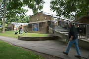 Photographer and resident, Mark Aitken's exhibition on display throughout Cressingham Gardens estate on 5th June 2017 in South London, United Kingdom. Cressingham Gardens is a council garden estate in Lambeth. Located on the southern edge of Brockwell Park, it comprises of 306 dwellings. It was designed at the end of the 1960s by the Lambeth Borough Council architect Edward Hollamby, and built at the start of the 1970s. In 2012 Lambeth Council proposed regeneration of the whole estate, a decision highly opposed by many residents and a campaign to stop the redevelopment has been in place since.