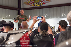 Exhibition producer and curator Michael Lichter  at the Old Iron - Young Blood exhibition media and industry reception in the Motorcycles as Art gallery at the Buffalo Chip during the annual Sturgis Black Hills Motorcycle Rally. Sturgis, SD. USA. Sunday August 6, 2017. Photography ©2017 Michael Lichter.
