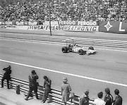 British driver, Jackie Stewart, during the 1969 Spanish Grand Prix at the Montjuïc urban circuit in Barcelona, Spain.