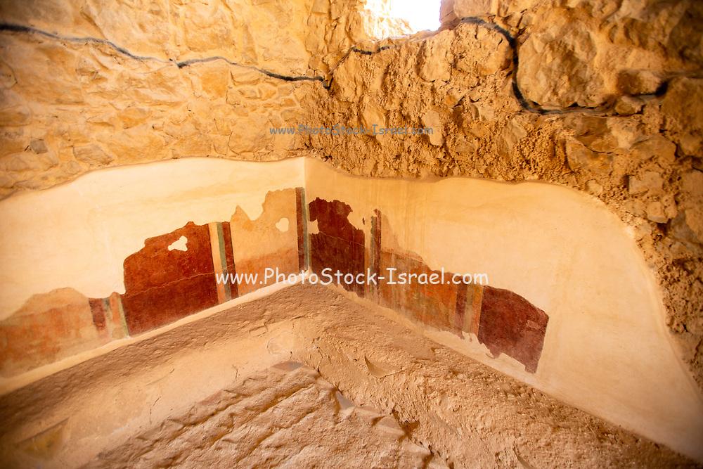 Remains of the Roman bathhouse at Masada national park, Israel