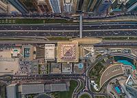 Aerial view of Al Yaqoub Tower rooftop In Dubai, U.A.E.