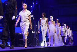 Rose McGowan on the catwalk during the Nicholas Kirkwood Spring/Summer 2019 London Fashion Week show in Ambika P3, London. Picture date: Sunday September 16th, 2018. Photo credit should read: Matt Crossick/ EMPICS Entertainment.