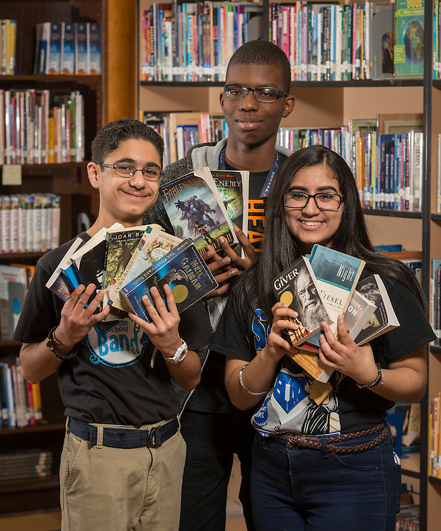 Students pose for a photography at Hamilton Middle School, February 3, 2017.