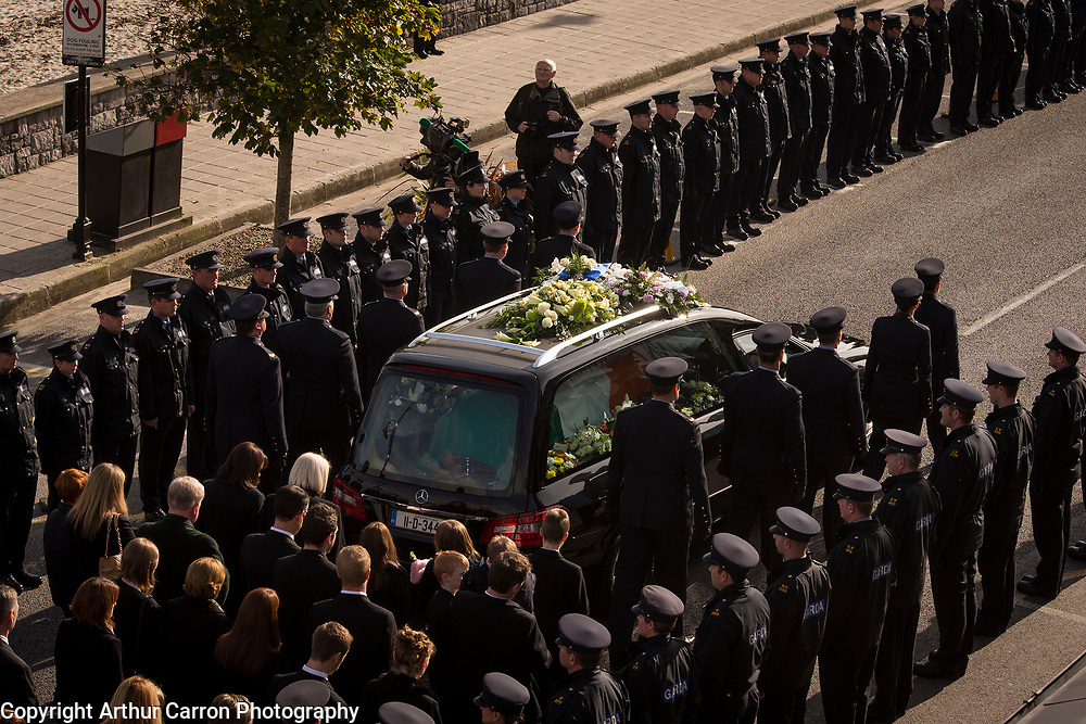 15/10/15 Funeral of Garda Tony Golden, who was shot dead in Omeath last weekend, at St Oliver Plunketts church in Blackrock, Co Louth. Picture:Arthur Carron