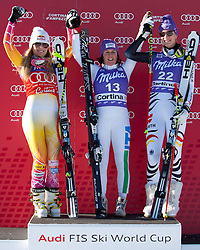 14-01-2012 SKIEN: FIS WORLD CUP: CORTINA<br /> Pista Olympia delle Tofane,  f.l.t.r. second place Lindsey Vonn of USA, first place Daniela Merighetti of Italy and thirth place Maria Hoefl-Riesch of Germany<br /> **NETHERLANDS ONLY** <br /> ©2012-FotoHoogendoorn.nl/EXPA/Johann Groder