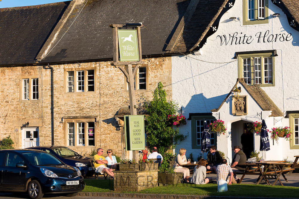 White Horse Inn traditional old gastro pub in Biddestone in The Cotswolds, Wiltshire, UK