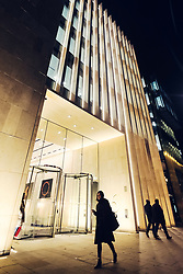 Night view of exterior of Standard Life Aberdeen building in St Andrews Square in Edinburgh, Scotland, United Kingdom