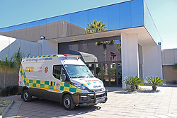 JOHANNESBURG, SOUTH AFRICA - JULY 03: A provincial service ambulance outside the Nasrec quarantine and isolation site on July 03, 2020 in Johanneburg, South Africa. Gauteng MEC Dr Bandile Masuku visited the NASREC Quarantine Site to inspect facilities and monitor patient care experience. The site became operational on June 15. (Photo by Gallo Images/Dino Lloyd)