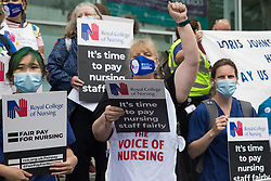 London, UK. 3rd July, 2021. NHS workers assemble outside University College Hospital (UCH) before a protest march to Whitehall as part of a national day of action to mark the 73rd birthday of the National Health Service. The protesters called for fair pay for NHS workers, for better funding of the NHS and for an end to privatisation measures affecting the NHS.