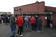 Fans queue for their tickets ahead of k/o. The Emirates FA Cup, 2nd round match, Newport County v Cambridge United at Rodney Parade in Newport, South Wales on Sunday 3rd December 2017.<br /> pic by Andrew Orchard,  Andrew Orchard sports photography.