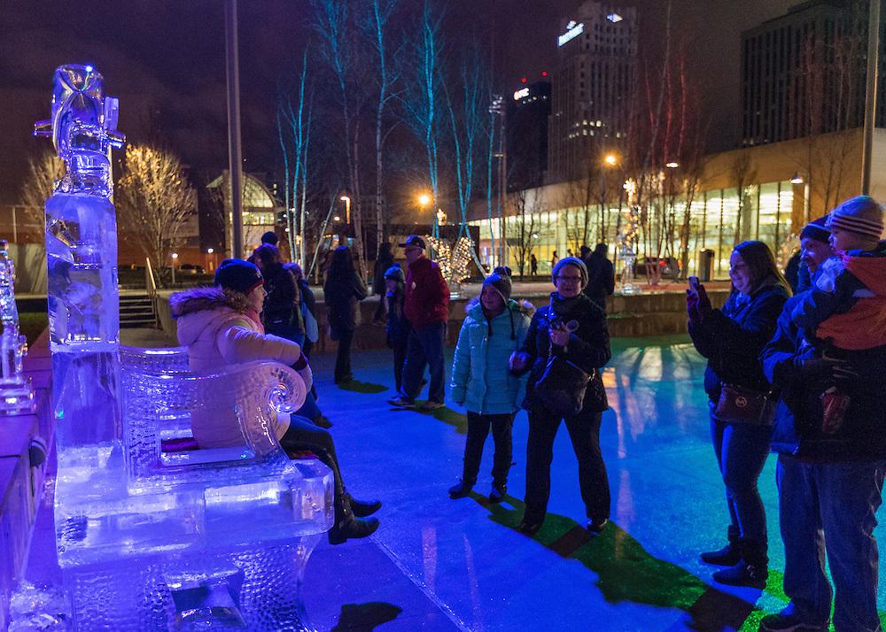 Goodyear Ice Sculpture Garden at the Akron Art Museum First Night Akron 2017.