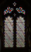Stained glass window Washbrook church, Suffolk, England, UK