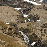 The Shackleton Waterfall can be seen at the end of the Shackleton Hike, which leads from Fortuna Bay to Stromness on South Georgia Island.