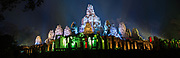 Night lights at Bayon Temple for Khmer New Year in Cambodia
