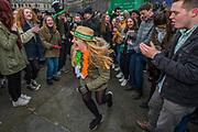 The Irish dancining starts in Trafalgar Square -  the London St Patrick's Day parade from Piccadilly to Trafalgar Square.