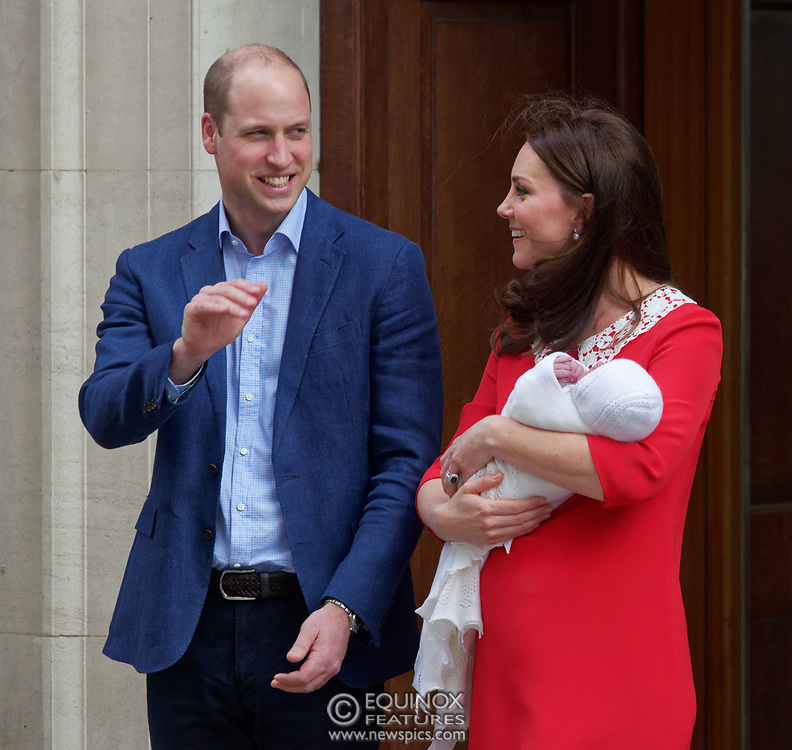 London, United Kingdom - 23 April 2018<br /> Prince William and Kate Middleton, The Duke and Duchess of Cambridge show off their new baby as they leave the Lindo Wing of St. Mary's Hospital, Paddington, London, England, UK, Europe.<br /> www.newspics.com/#!/contact<br /> (photo by: EQUINOXFEATURES.COM)<br /> Picture Data:<br /> Photographer: Equinox Features<br /> Copyright: ©2018 Equinox Licensing Ltd. +448700 780000<br /> Contact: Equinox Features<br /> Date Taken: 20180423<br /> Time Taken: 17514730