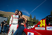 June 26-30 - Pikes Peak Colorado.  Greg Tracy and a fan after practice for the 91st running of the Pikes Peak Hill Climb.