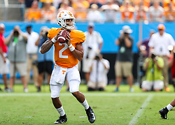 Sep 1, 2018; Charlotte, NC, USA; Tennessee Volunteers quarterback Jarrett Guarantano (2) drops back to pass during the first quarter against the West Virginia Mountaineers at Bank of America Stadium. Mandatory Credit: Ben Queen-USA TODAY Sports
