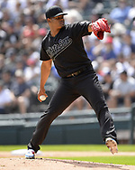 CHICAGO - AUGUST 25:  Reynaldo Lopez #40 of the Chicago White Sox pitches against the Texas Rangers during Players Weekend on August  25, 2019 at Guaranteed Rate Field in Chicago, Illinois.  (Photo by Ron Vesely)  Subject:   Reynaldo Lopez