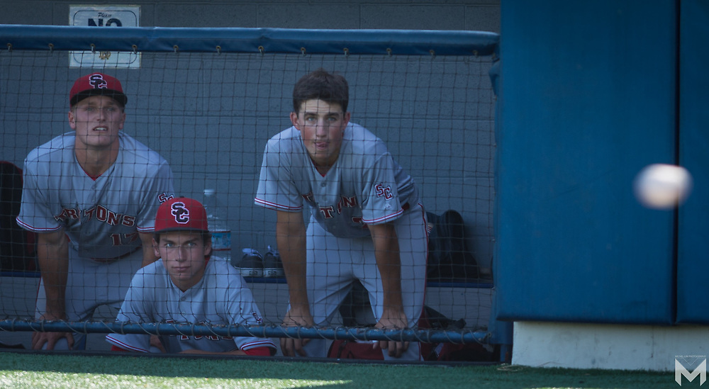 5/18/174:19:24 PM - San Clemente pitcher Michael McGreevy watches the pitch with his teammates during the CIF Southern Section Division I playoff game between San Clemente and Notre Dame in Sherman Oaks, California<br /> <br /> Photo by Michel Lim
