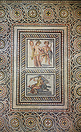 Roman mosaics - Satyros, Antiope & Galatia Mosaic. Poseidon Villa Ancient Zeugama, 2nd - 3rd century AD . Zeugma Mosaic Museum, Gaziantep, Turkey. .<br /> <br /> If you prefer to buy from our ALAMY PHOTO LIBRARY  Collection visit : https://www.alamy.com/portfolio/paul-williams-funkystock/roman-mosaic.html - Type -   Zeugma   - into the LOWER SEARCH WITHIN GALLERY box. Refine search by adding background colour, place, museum etc<br /> <br /> Visit our ROMAN MOSAIC PHOTO COLLECTIONS for more photos to download  as wall art prints https://funkystock.photoshelter.com/gallery-collection/Roman-Mosaics-Art-Pictures-Images/C0000LcfNel7FpLI