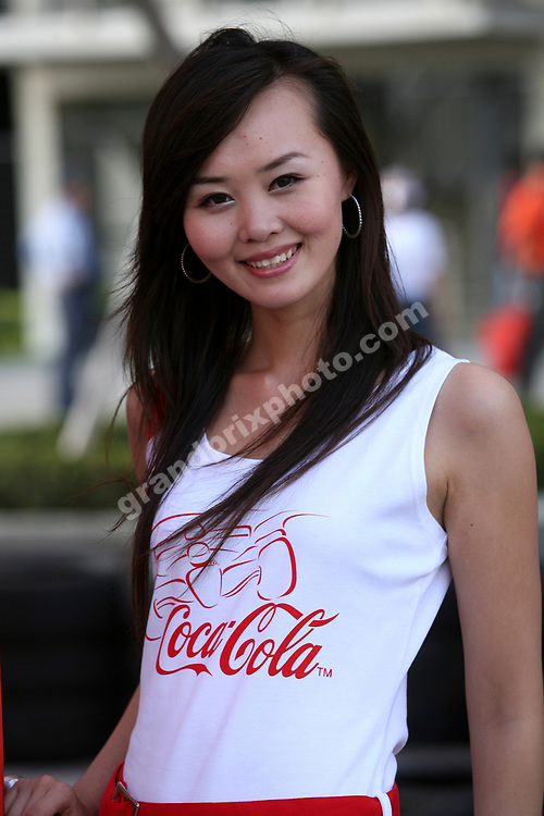 A local pit babe / grid girl before the 2007 Chinese Grand Prix in Shanghai. Photo: Grand Prix Photo