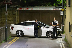 © Licensed to London News Pictures. 10/05/2019. London, UK.  Police at a cordon outside Seven Kings Mosque in east London, where it has been reported that a gun was fired by a masked gunman.  Photo credit: Vickie Flores/LNP