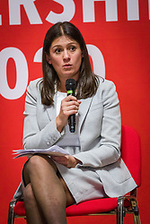 © Licensed to London News Pictures. 13/02/2020. London, UK. Lisa Nandy speaking at the Jewish Labour Movement (JLM) Labour Party leadership hustings held at the Liberal Jewish Synagogue in St John's Wood. The JLM will announce its leadership nomination on Friday February 14th. Photo credit: Vickie Flores/LNP