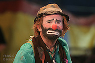 Patrick Kelly plays Weary Willie clown (originated by Emmett Kelly, Sr) at Big Top Circus; International Circus Hall of Fame, Peru, Indiana.