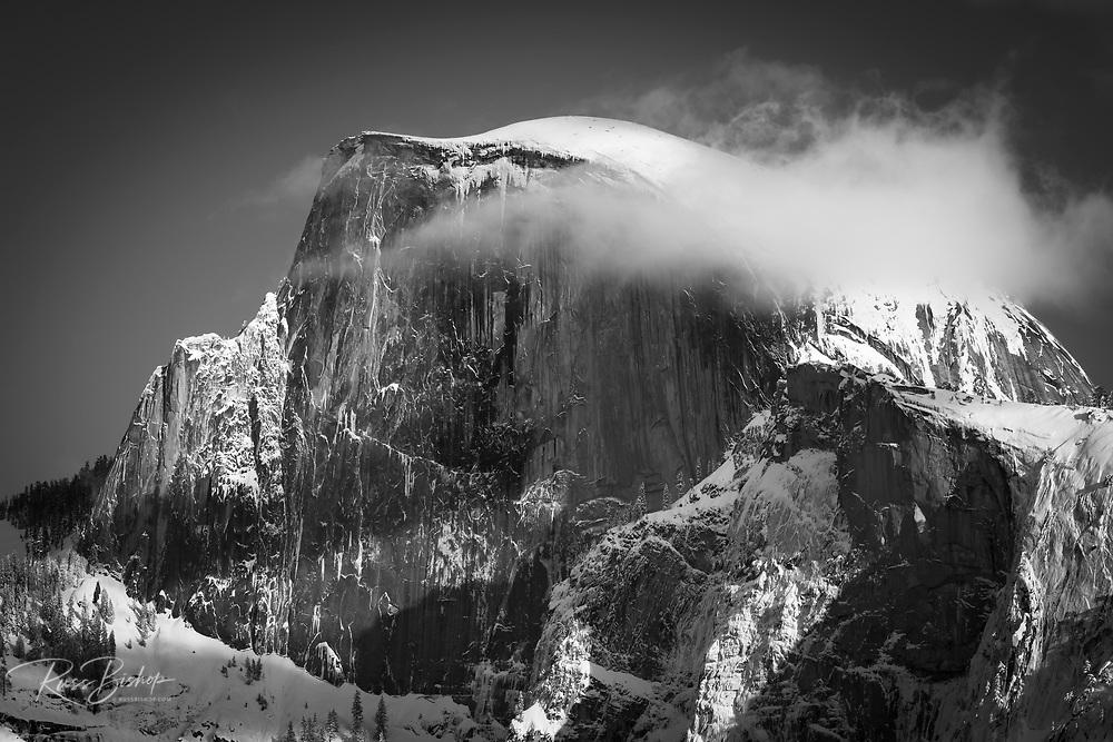 Evening light on Half Dome in winter, Yosemite National Park, California USA