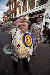 © Licensed to London News Pictures . 20/11/2014 . Kent , UK . Howling Laud Hope of the Monster Raving Loony Party , out campaigning in Rochester  . The Rochester and Strood by-election campaign following the defection of sitting MP Mark Reckless from Conservative to UKIP . Photo credit : Joel Goodman/LNP
