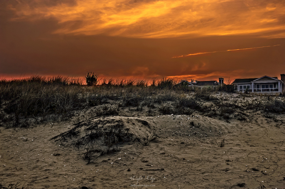 From the beach, looking toward the west in Ocean City, NJ.