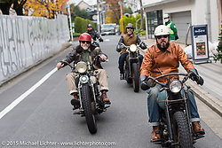 The Race of Gentlemen's Mel Stultz and Bobby Green on a ride around Tokyo with friends of the Freewheelers And Company shop, Japan. December 8, 2015.  Photography ©2015 Michael Lichter.