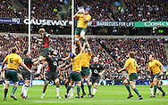 Nathan Sharpe of Australia takes a lineout during the Investec series international between England and Australia at Twickenham, London, on Saturday 13th November 2010. (Photo by Andrew Tobin/SLIK images)