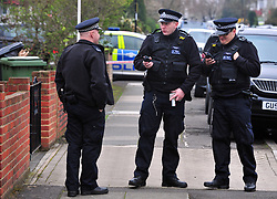 © Licensed to London News Pictures.12/04/2018<br /> HITHER GREEN, UK.<br /> POLICE ON DUTY IN SOUTH Park Crescent 7.30pm tonight.<br />  SOUTH PARK CRESCENT,Hither Green <br />  Hither Green Burglary Murder. South Park Crescent,Hither Green.<br />  Home of 78 year old Richard Osborn-Brooks who stabbed a burglar to death in his home.<br /> Photo credit: Grant Falvey/LNP