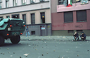 The aftermath of a 1st of May protest in Berlin's Kreuzberg area. Many left wing groups take the opportunity on this day to avenge the rising capitalist thinking.