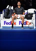 Tennis - 2018 Nitto ATP Finals at The O2 - Day Eight<br /> <br /> Final Singles: Novak Djokovic (SRB) vs. Alexander Zverev (GER)<br /> <br /> Djokovic during change of ends.<br /> <br /> COLORSPORT/ASHLEY WESTERN