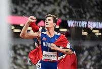 von links: Jakob INGEBRIGTSEN NOR, Sieger, winner, Olympiasieger, 1. Platz, Goldmedaille, Gold Medallist, Olympic Champion,