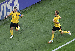 July 14, 2018 - Saint Petersbourg, Russie - SAINT PETERSBURG, RUSSIA - JULY 14 : Eden Hazard midfielder of Belgium & Dries Mertens forward of Belgium  during the FIFA 2018 World Cup Russia Play-off for third place match between Belgium and England at the Saint Petersburg Stadium on July 14, 2018 in Saint Petersburg, Russia, 14/07/18 (Credit Image: © Panoramic via ZUMA Press)