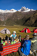 Camp 4 at 3700 meters elevation in Jancapampa Valley is under 6000-meter peaks of Nevados Pucajirca. Day 4 of 10 days around Alpamayo in Huascaran National Park (UNESCO World Heritage Site), Cordillera Blanca, Andes Mountains, Peru, South America.