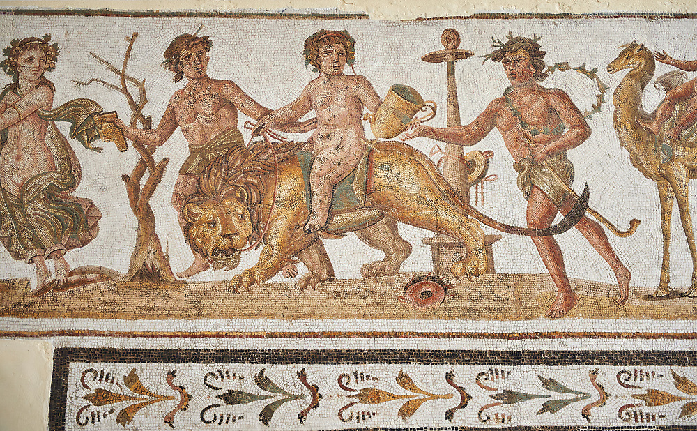 Picture of a Roman mosaics design depicting Dionysus riding a lion, from the ancient Roman city of Thysdrus. 2nd century AD House of the Dionysus Proccession. El Djem Archaeological Museum, El Djem, Tunisia. .<br /> <br /> If you prefer to buy from our ALAMY PHOTO LIBRARY  Collection visit : https://www.alamy.com/portfolio/paul-williams-funkystock/roman-mosaic.html  . Type -   El Djem   - into the LOWER SEARCH WITHIN GALLERY box. Refine search by adding background colour, place, museum etc<br /> <br /> Visit our ROMAN MOSAIC PHOTO COLLECTIONS for more photos to download  as wall art prints https://funkystock.photoshelter.com/gallery-collection/Roman-Mosaics-Art-Pictures-Images/C0000LcfNel7FpLI
