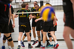 13-04-2019 NED: Prima Donna Kaas Huizen - Spaarnestad , Huizen<br /> Huizen win the match 3-2 and is the champion of the second division C / Derwin Colina #9 of PDK Huizen, Michiel Koster #1 of PDK Huizen
