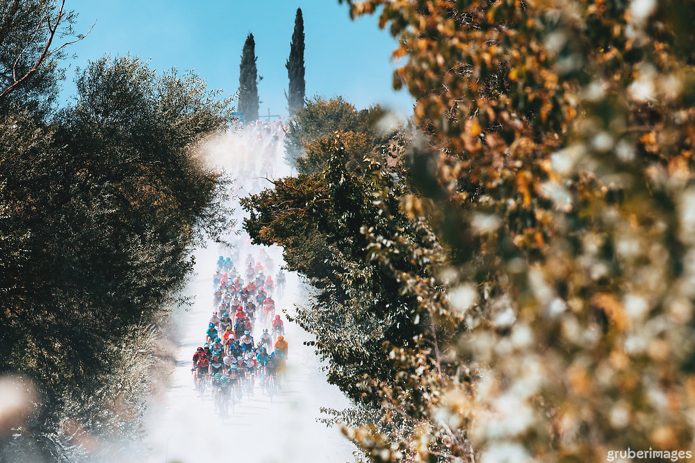The approaching peloton early on at the 2020 Strade Bianche.