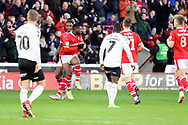 GOAL Barnsley forward Mamadou Thiam (26) scores to make it 2-0 and celebrates during the EFL Sky Bet League 1 match between Barnsley and Charlton Athletic at Oakwell, Barnsley, England on 29 December 2018.