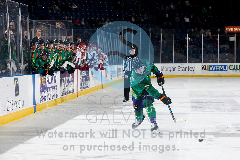 Youngstown Phantoms lose 5-4 to the Dubuque Fighting Saints at the Covelli Centre on March 13, 2021.<br /> <br /> Bennet Zmolek, defenseman, 25