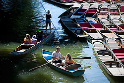 © Licensed to London News Pictures. 19/07/2016. Oxford, UK. Members of the public out punting and rowing wile enjoying the summer sun on the River Cherwell in the grounds of Oxford University in Oxfordshire, on what is due to be the hottest day of 2016 so far, with temperatures possibly hitting the mid 30's.  Photo credit: Ben Cawthra/LNP